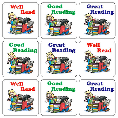 Mini Sheet of 35 Mixed Children Reading 20mm Square Stickers