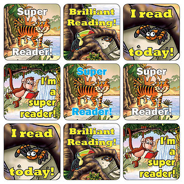 Mini Sheet of 35 Mixed Jungle Reading 20mm Square Stickers