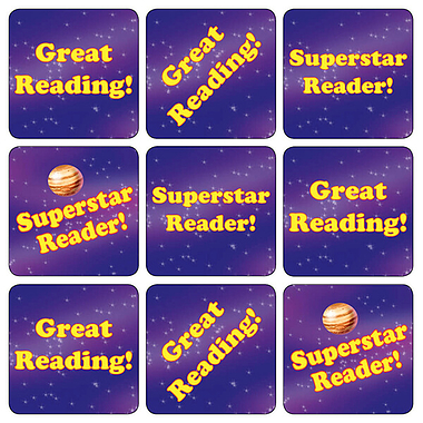 35 Mixed Superstar Reading 20mm Square Stickers