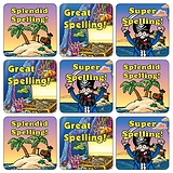 Mini Sheet of 35 Mixed Pirate Spelling 20mm Square Stickers