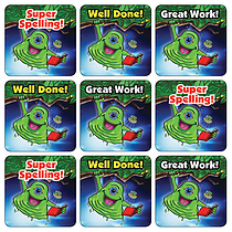 Mini Sheet of 35 Mixed Alien Spelling 20mm Square Stickers