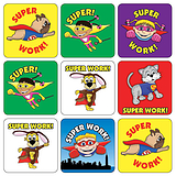 Mini Sheet of 35 Mixed Superhero 20mm Square Stickers