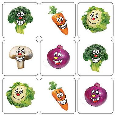 Mini sheet of 35 Mixed Vegetables 20mm Square Stickers