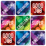 Mini sheet of 35 Mixed Wording 20mm Square Stickers