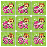Five Times Table Tiger Stickers (25 Stickers - 20mm)