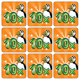 Mini sheet of 35 Ten Times Table 20mm Square Stickers