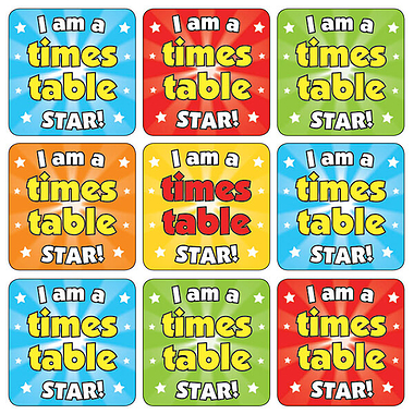 'I am a Times Table Star' Mixed Colour 20mm Square Stickers x 35