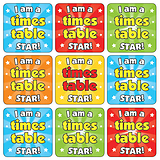 Mini sheet of 35 Times Table Star 20mm Square Stickers