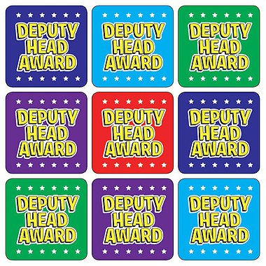 'Deputy Head Award' Mixed Colours 20mm Square Stickers x 35