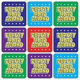 Mini sheet of 35 Deputy Head 20mm Square Stickers