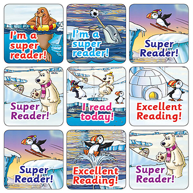Mixed Reading Polar Scene 20mm Square Stickers x 35