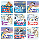 Mini Sheet of 35 Mixed Reading Polar 20mm Square Stickers