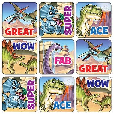 Mini Sheet of 35 Mixed Words Dinosaur 20mm Square Stickers