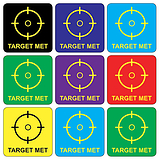 Mini Sheet of 35 Mixed Target Met 20mm Square Stickers
