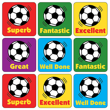 Mini Sheet of 35 Mixed Football 20mm Square Stickers