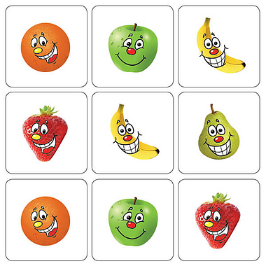 Mini Sheet of 35 Mixed Fruits 20mm Square Stickers