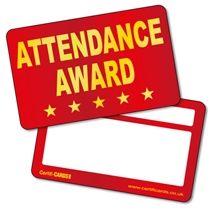 'Attendance Award' Metallic Plastic CertifiCARDS x 10