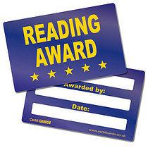 'Reading Award' Metallic Plastic CertifiCARDS x 10