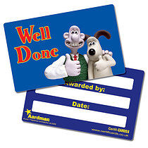 'Well Done' Wallace & Gromit Plastic CertifiCARDS x 10