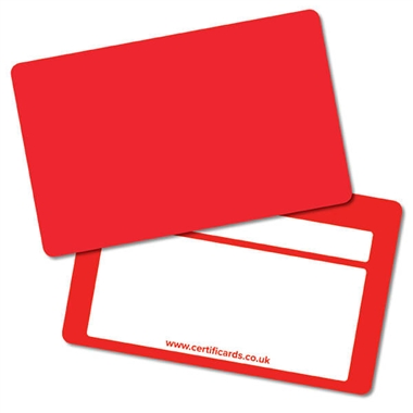 House Colour Red Plastic CertifiCARDS (10 Cards - 86mm x 54mm)