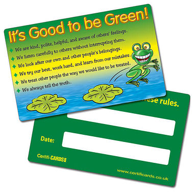 Pack of 10 Good to be Green Rules CertifiCARDS