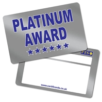 'Platinum Award' Metallic Plastic CertifiCARDS x 10
