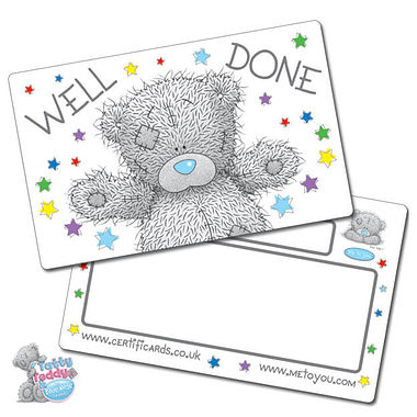 Tatty Teddy Well Done Plastic CertifiCARDS (10 Cards - 86mm x 54mm)