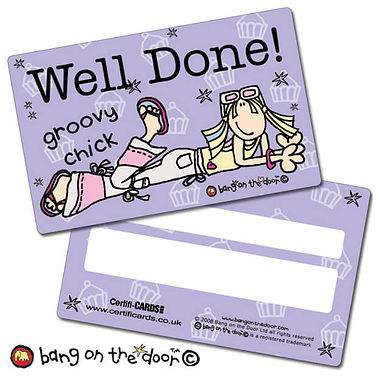 Pack of 10 Well Done Groovy Chick CertifiCARDS