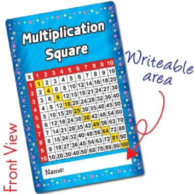 Pack of 10 Multiplication Square CertifiCARDS