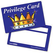 'Privilege Card' Crown Plastic CertifiCARDS x 10