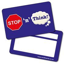 STOP 'n' Think Card - Certificards x 10 in a pack