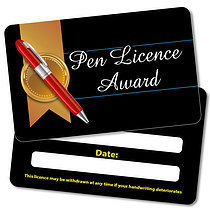 Black 'Pen Licence' Plastic CertifiCARDS x 10
