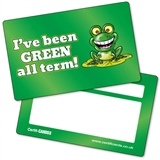 GREEN all term Plastic CertifiCARDS (10 Wallet Sized Cards)