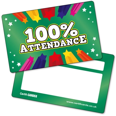 100% Attendance CertifiCARDS (10 Wallet Sized Cards)