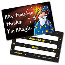 'My Teacher Thinks I'm Magic' Plastic CertifiCARDS x 10