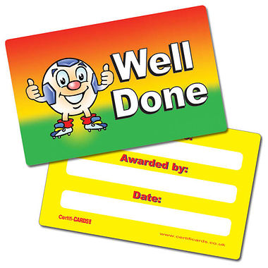 Pack of 10 Well Done Football CertifiCARDS