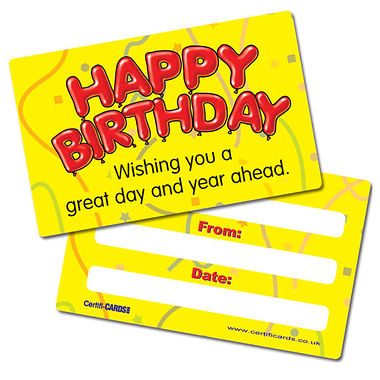 Happy Birthday CertifiCARDS (10 Cards - 86mm x 54mm)