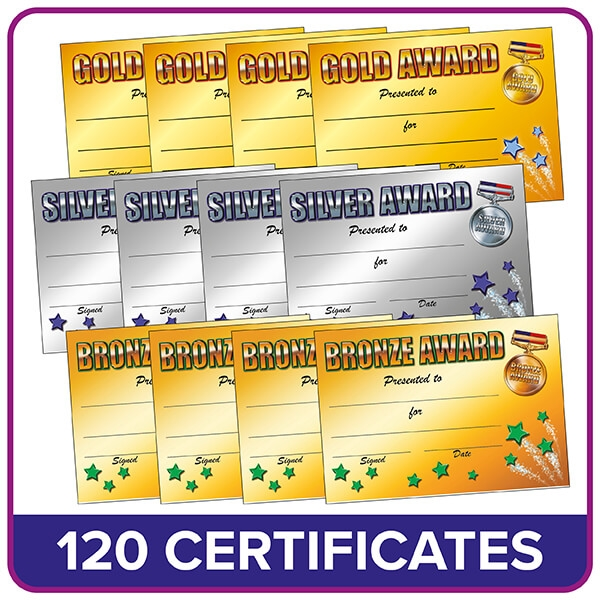 Gold Silver And Bronze Certificates Value Pack A5