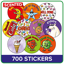 Value Pack of 700 Mixed Scented 37mm Circular Stickers