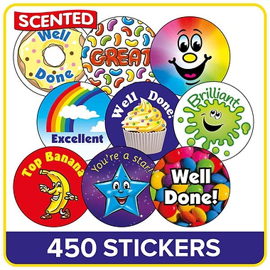Value Pack of 280 Mixed Scented 37mm Circular Stickers