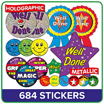 Value Pack of 684 Mixed Metallic & Holographic Stickers