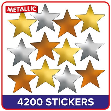 Pack of 4200 Gold/Silver/Bronze Star Stickers