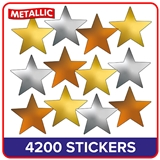 Metallic Gold, Silver and Bronze Star Stickers Value Pack (4200 Stickers - 18mm)