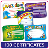 Value Pack Mixed Reward A5 Certificates x 100 (20 x 5 designs)