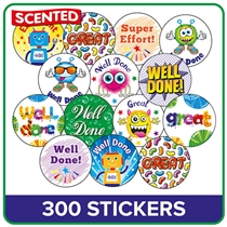 Value Pack of 240 Mixed Scented 25mm Mini Circular Stickers
