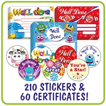 Value Pack Mixed Scented Mini 25mm Stickers & A5 Certificate