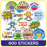 Value Pack of 600 Mixed Scented 25mm Mini Circular Stickers