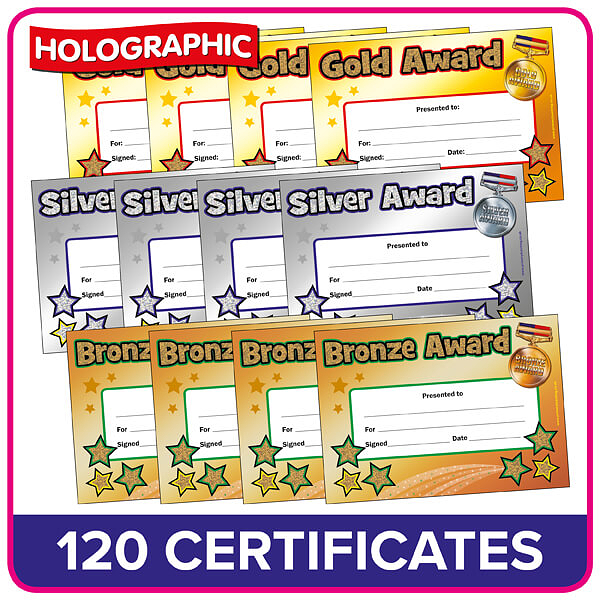 Gold Silver And Bronze Certificates Value Pack X 120