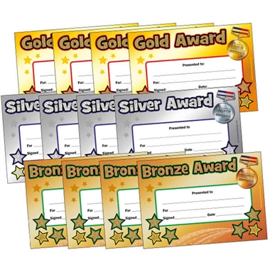 Holographic Gold, Silver and Bronze Certificates Value Pack (120 Certificates - A5)