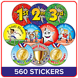 Sports Day Stickers Value Pack (560 Stickers - 37mm)
